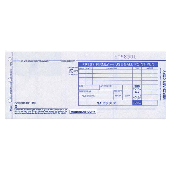 Form, Truncated Sales Slips, 80Col, 2 Copy, Carbonless