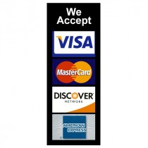 Decal, Window, We Accept Discover/MC/Visa/American Express (2 3/4 inch x 8 inch)